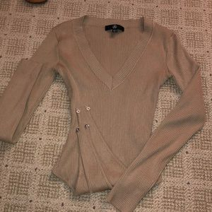 Missguided NWOT tan sweater body suit